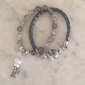 Jewelry - Pair Of Bracelets With Silver tone Tassel & Beads